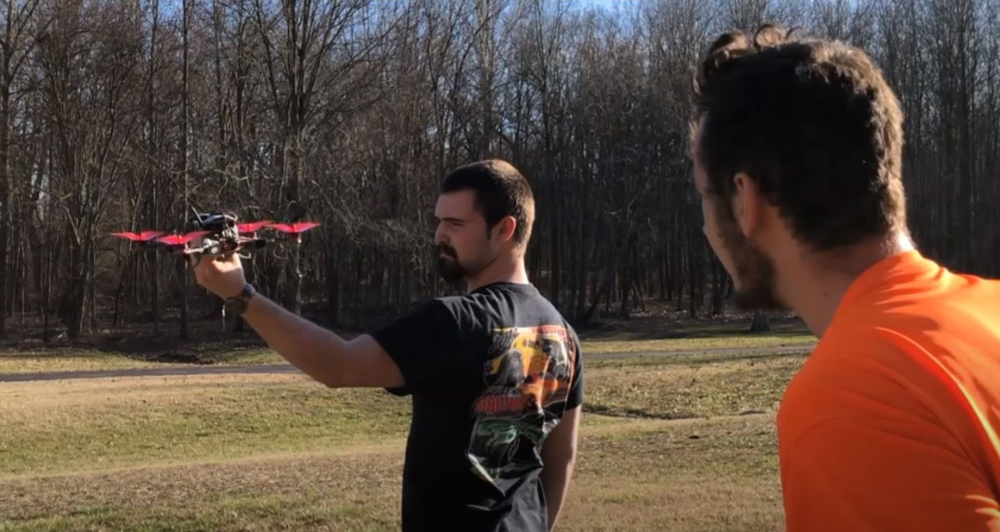 Students flying drones