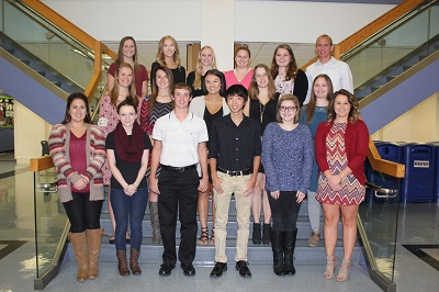 Kaskaskia College's latest Phi Theta Kappa students standing at staircase.
